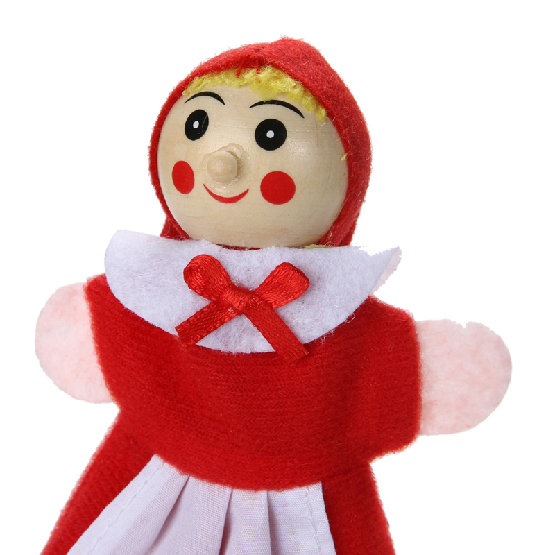 4pcsLot-Kids-Toys-Finger-Puppets-Doll-Plush-Toys-Little-Red-Riding-Hood-Wooden-Headed-Fairy-Tale-Story-Telling-Hand-Puppets-3