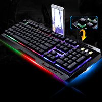 104 Keys Wired USB Gaming Keyboard Mechanical Feel Keyboards with Mobile Phone Holder Laptop Computer LED Backlight Keyboard