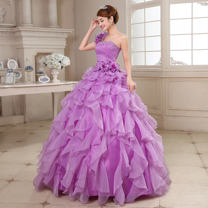 Quinceanera Dresses 2019 Mrs Win Sweet Flowers One-shoulder Crystal Luxury Ball Gown Lace Party Prom Formal Gown Plus Szie