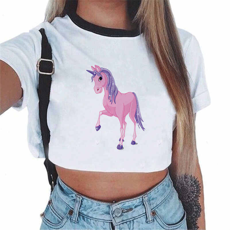 CDJLFH 2018 kobiety trójniki Sexy Crop koszula moda motyw jednorożca biały t-shirt koszula z okrągłym dekoltem koszula S M L rozmiar
