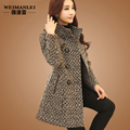 Wool tweed coat long thick warm winter middle-aged women's cashmere woolen coats outerwear 2017 autumn free shipping