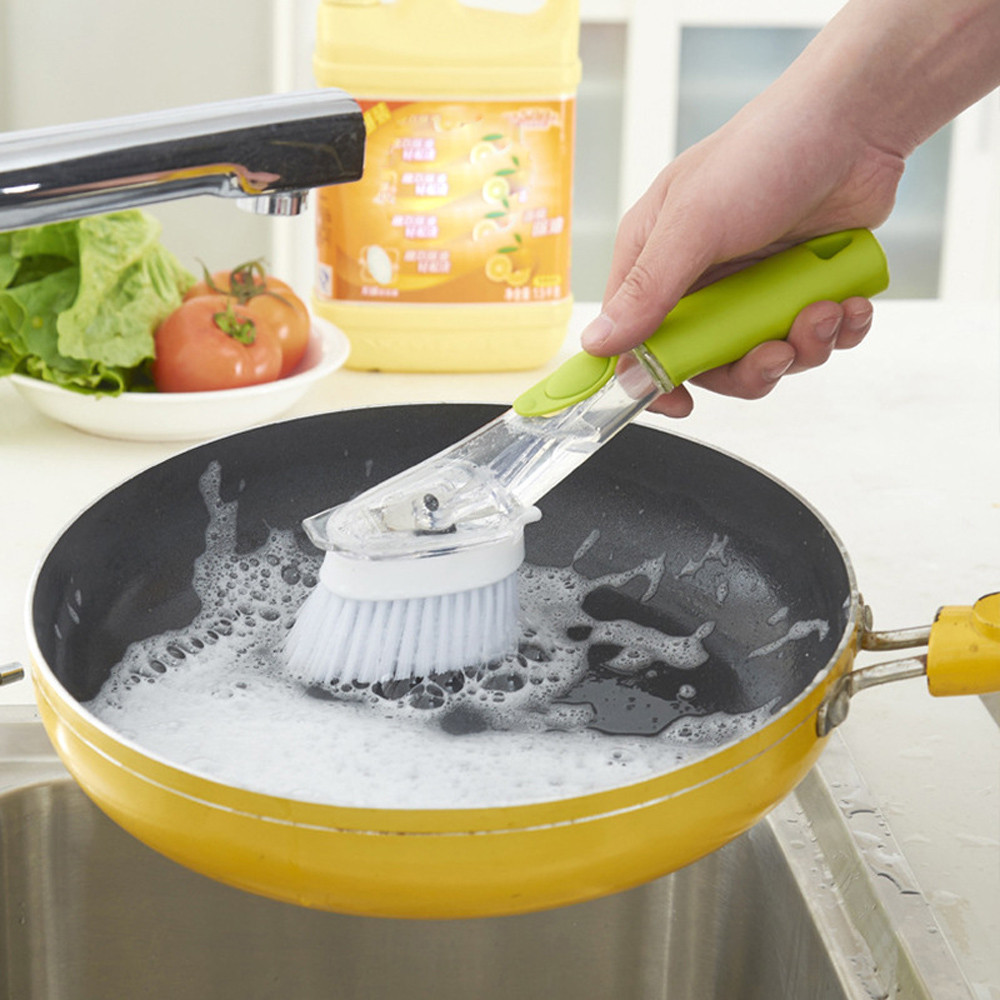 2018 New Cleaning Brush Home Kitchen Dish Brush with Washing Up Liquid Soap Dispenser Kitchen Utensil Pot Brush Clean Tools