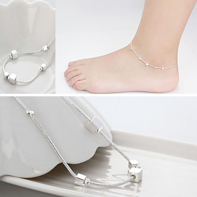 109a75e5253 1PC Women Silver Plated Chain Single Bracelet Anklet Barefoot Sandal Beach  Foot Simple Women Anklet Jewelry