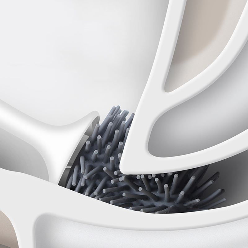 Self Cleaning Rubber Toilet Brush - Wall Hanging  3