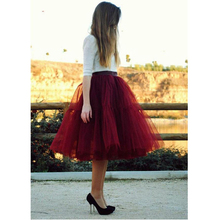 New Puff Women Tulle Tulle Skirt Red faldas High waist Midi 60cm plus size Grunge Jupe Female Tutu Skirts