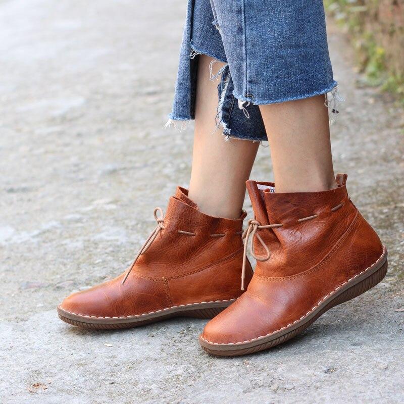 Cuero Marrón Slip Mujer Gneuine Calzado De Redonda Zapatos Punta Botas Damas Tobillo En Conducción zvXxwOq5w