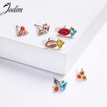 JOOLIM Jewelry Wholesale/ Colorful Glass Stud Earrings Set Fashion Trendy
