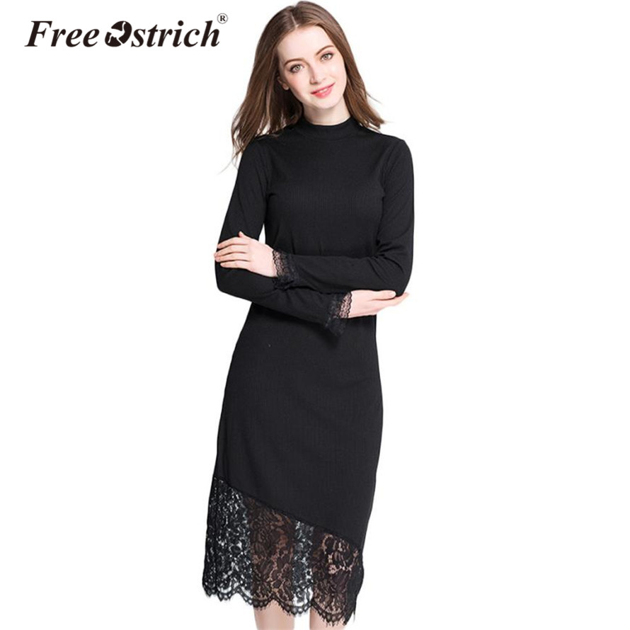 Free Ostrich 2017 Dress Women long sleeve O neck sweater autumn winter lace knitted Dress Vestidos Plus Size Dropshipping free shipping women lace dress 2016 autumn style good quality half sleeve casual dress o neck 55