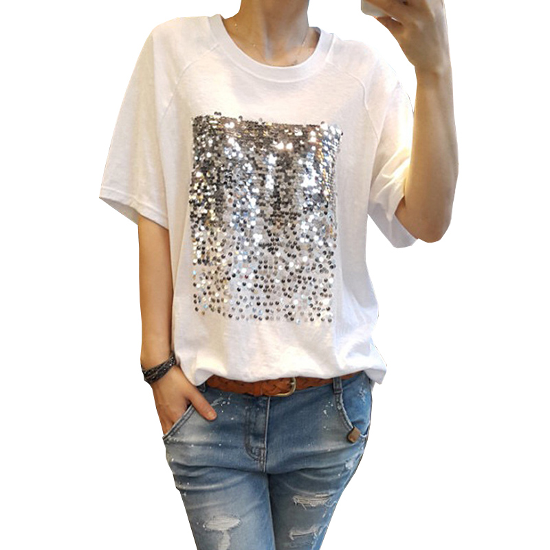 Summer 2018 New Korean White Shirt Loose Large size Cotton Sequins Bamboo Cotton White T-Shirt Female Short Sleeved Fitness Tee