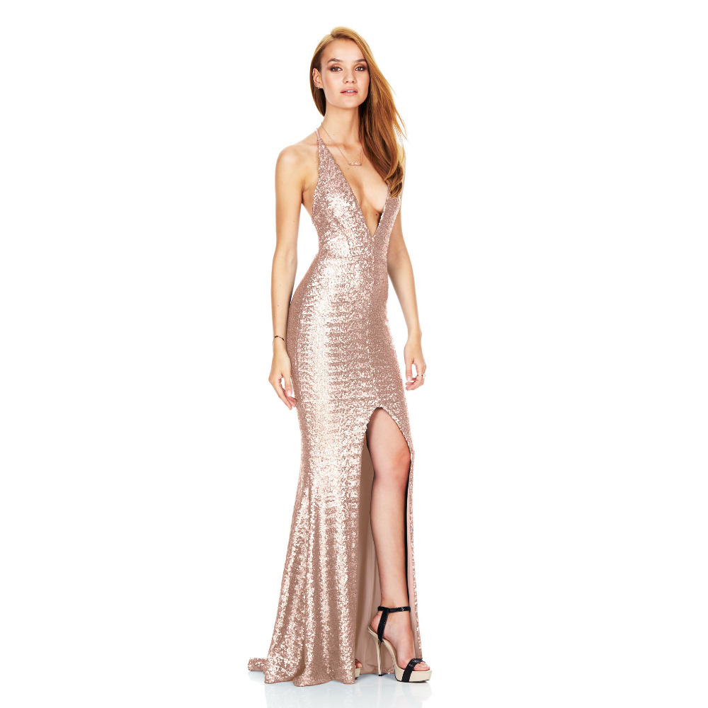Buy Cheap Deep V neck Backless Sexy Dress Side Splite Robe Sexy Bodycon Maxi Dress Sequined Bandage Club Party Dresses Luxury Pencil Dress