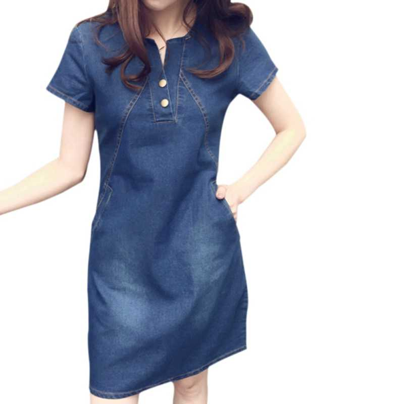 Модное женское платье, сексуальное женское летнее платье, однотонная женская с короткими рукавами, свободный джинсовый сарафан с круглым вырезом, женское повседневное мини-платье