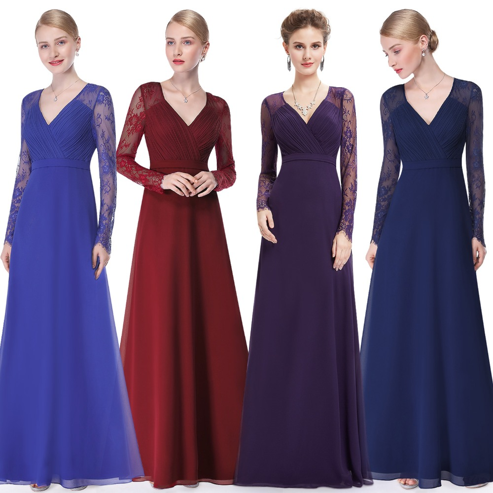 Τυχαία βραδινά φορέματα παντοτινά EP08692 Φθινόπωρο των γυναικών Κομψή V-λαιμό μακρύ μανίκι Lace Plus μέγεθος Prom Prom Evening Κόμματα Party