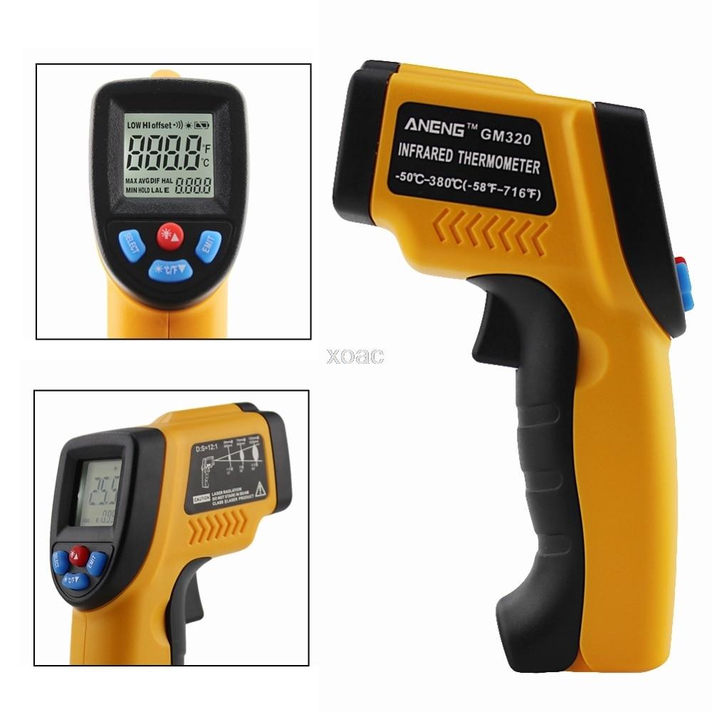 -50 ~ 380 Gradi Celsius Temperatura Digitale Palmare Senza Contatto a CRISTALLI LIQUIDI IR Laser Gun Termometro A Infrarossi M06 dropship