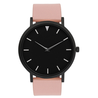 Black Ladies Watches Pink Straps Clock Women