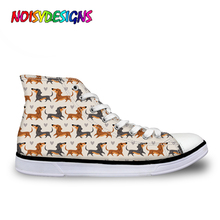 NOISYDESIGNS Women Casual Sneakers 2019 Cartoon Doxie Dachshund Printed Woman Vulcanize Canvas Shoes Female Spring  Chaussure