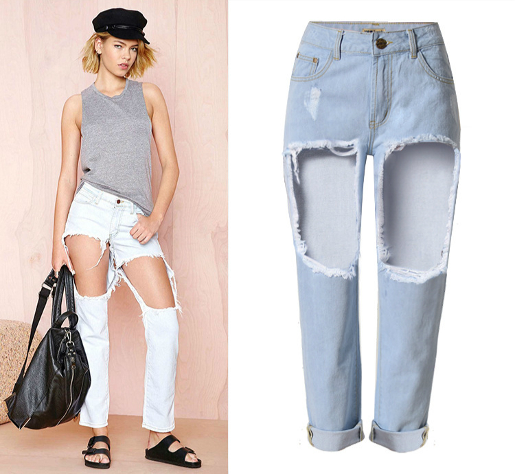 High Waist Hollow Out Ripped Jeans Women Hole Vintage Loose Bf Boyfriend Jeans Femme font b