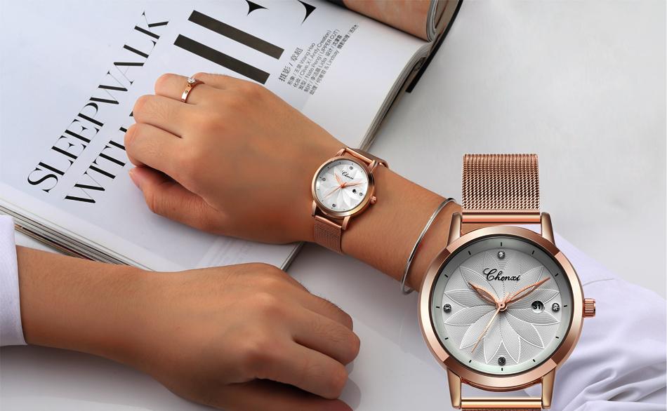dff4c20713e CHNEXI Simples Malha Rosa de ouro Relógios Das Mulheres Marca de ...