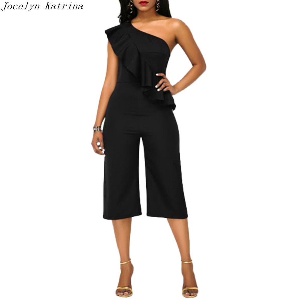 Jocelyn Katrina Brand Black Ruffles Details Fashion Jumpsuits Sexy Autumn Style Shoulder Calf-length Elegant Ladies Jumpsuits