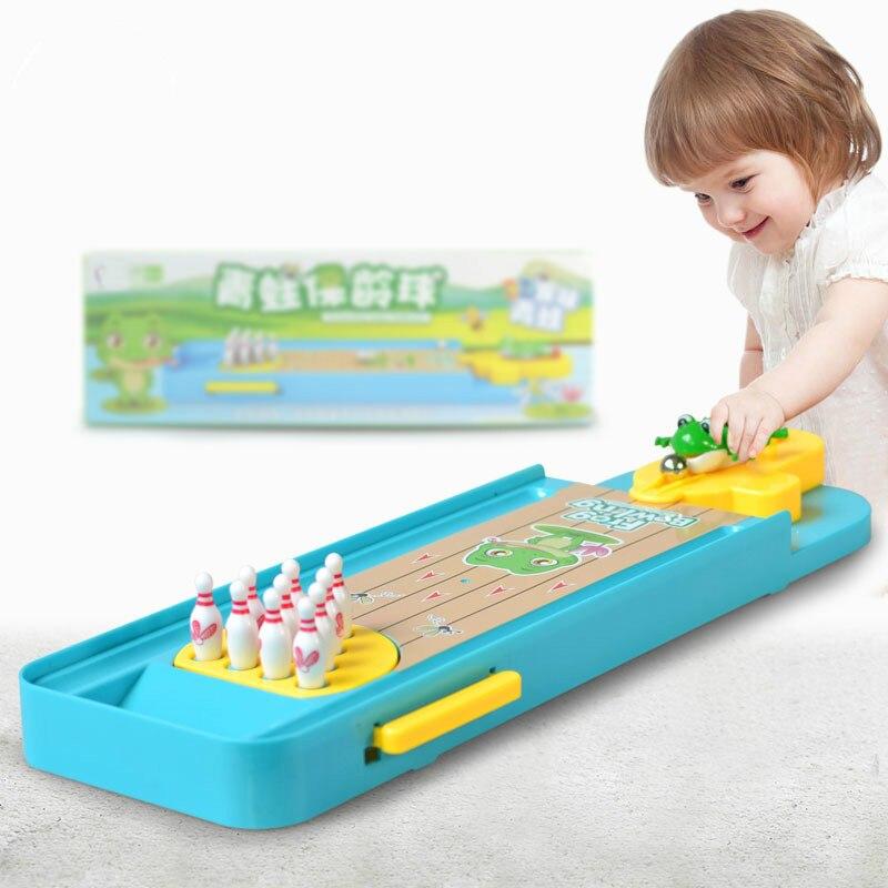 2018 offre spéciale jouet d'interaction Parent-enfant amusant Mini 3D grenouille Bowling jeux de Table enfants Puzzle jouet lanceur cadeau