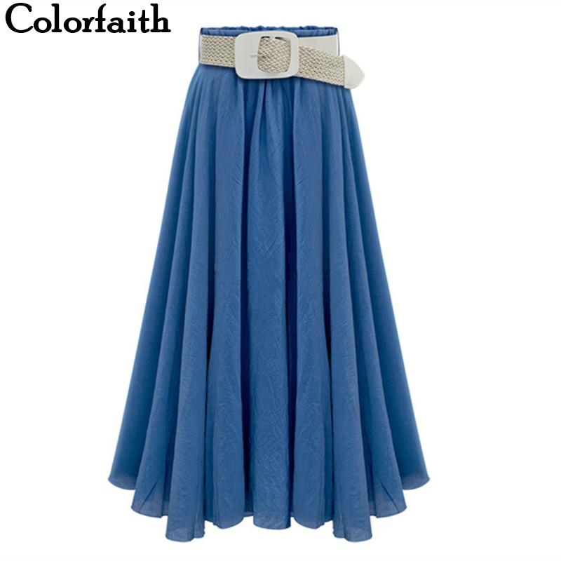 2016 New Arrival Women LYOCELL Long Skirt Pleated A-Line Ladies High Waist Fashion Casual Femininas Sexy Skirt With Belt 8194