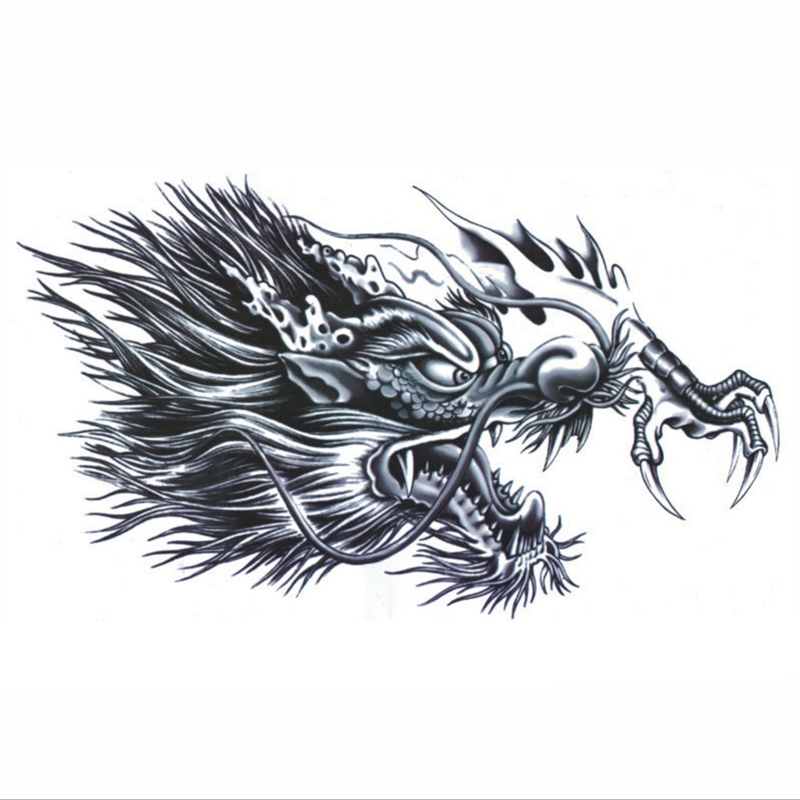 1pc new full chest back large dragon head tattoo sticker temporary