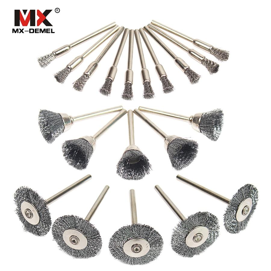 MX-DEMEL 20pcs Brass Steel Wheel Dremel Wire Brush Set Dremel Tools Accessories Burr Abrasive Head Deburring Drill Tools Wheel картридж sharp mx b20gt1 для mx b200 201 черный