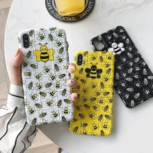 Simple Cartoon Violent Bee Phone Case For iPhone 7 8 plus 6s X XR XS Max Cases Fashion Glossy Square Soft Cover
