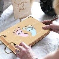 OurWarm Baby Douche Advies Kaarten Olifant Baby Shower Gast Boek Teken in Boek Verjaardag Gastenboek Foto Ablums 19 cm * 14 cm * 2.1 cm 1