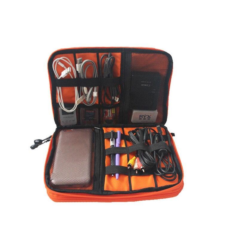 Stor Vattentät Dubbel Layer Kabel Organizer Väska Adapter SD-kort Bärväska HDD USB Flash Drive Batteri Tablet Förvaringsväskor
