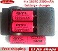 4x2300 mAh Bateria Li-ion Recarregável CR123A 16340 Vermelho Para O Lanterna LED + Carregador de Viagem