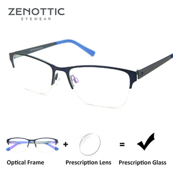 c983e5a4bd ZENOTTIC metálica Semi montura gafas de sol hombres óptico Anti-Blue-Ray  gafas hipermetropía ojo miopía gafas fotosensibles