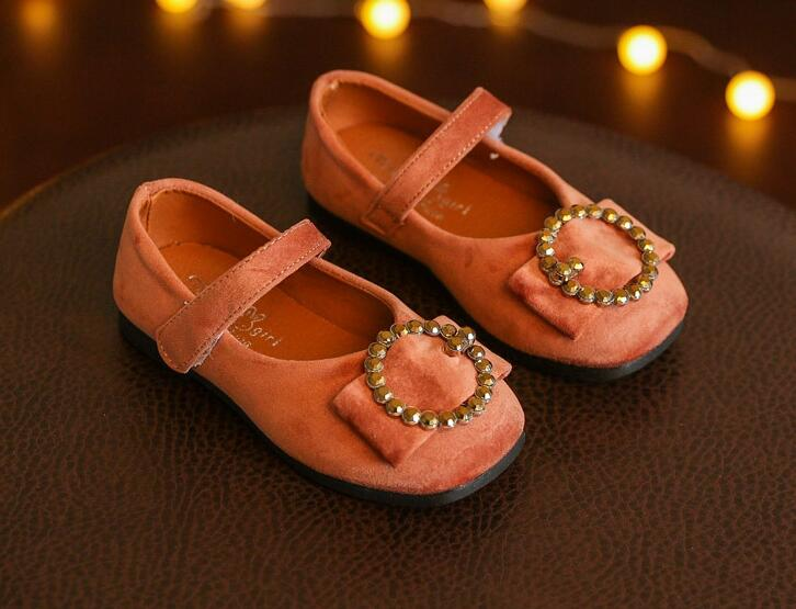 2018 Brand New Spring Retro Velvet Bow Tie Shoes Girls Fashion Square Princess Shoes