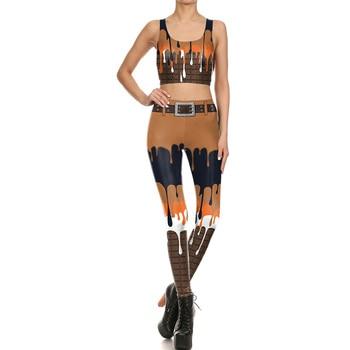 NEW 1647 Sexy Girl Sweat Cream Chocolate melt Cosplay Prints Women Yoga Leggings Crop Top Vest GYM Fitness Sport Suit Yoga Sets