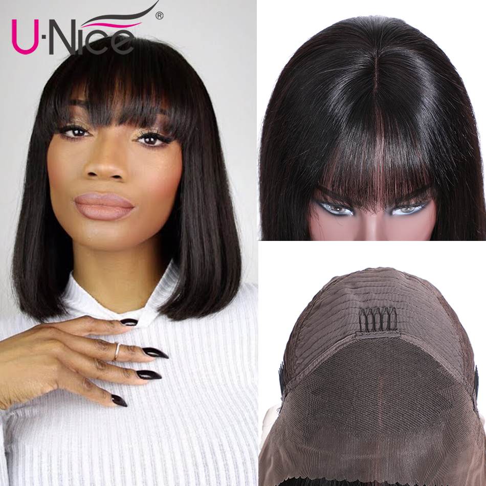 HTB1dDorU9zqK1RjSZFjq6zlCFXaO Unice Hair Short Lace Front Human Hair Wig Brazilian Remy Hair Bob Wig with Bangs Lace Wig Natural Hairline For Black Women