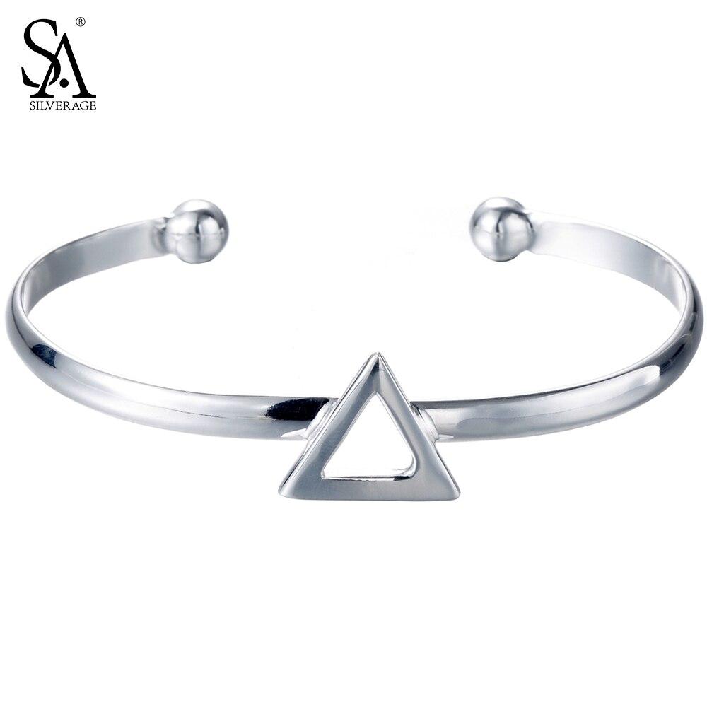 b21e7debc0b SA SILVERAGE 925 Sterling Silver Triangle Bracelets & Bangles for Women  Cuff Bangle Bracelet Fine Jewelry-in Bracelets & Bangles from Jewelry &  Accessories ...