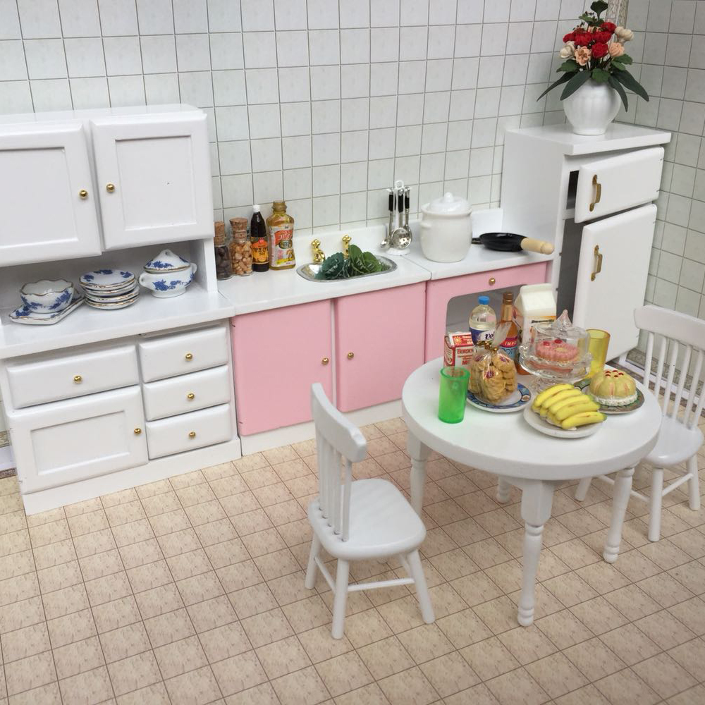 1:12 Furniture toy for dolls wooden white refrigerator stove table chair kitchen set Dollhouse pretend play toys for girls gifts mother garden high quality wood toy wind story green tea wooden kitchen toys set