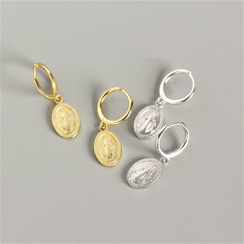 Fengxiaoling 100% Genuine 925 Sterling Silver Golden Silver Coin Carved Portrait Drop Earrings Jewelry Earrings For Women