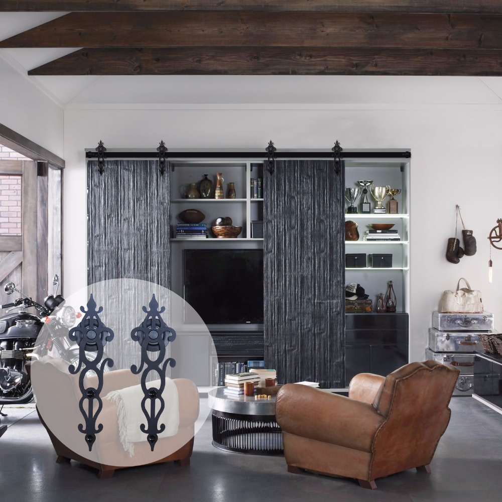 LWZH Sliding Barn Door Hardware Kit Black Steel Blossom Shaped Track Roller font b Closet b