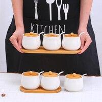 Kitchen Spice Jar Ceramics Seasoning Container Salt Sugar Storage Bottle Kitchen three sets of chili condiment pot