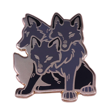 Три головы волки Эмаль Булавка ужас Вариант животное брошь капризная коллекция Хэллоуин