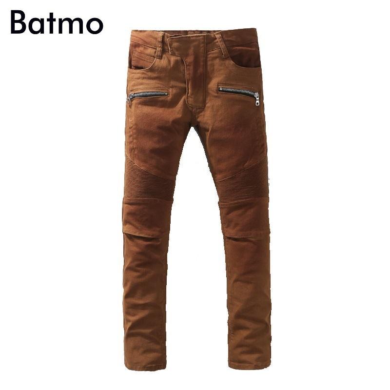 Batmo 2018 New Men Nightclubs brown Jeans,Famous Brand Fashion Designer Denim Jeans Men,plus-size 28-38, casual jeans new famous brand man jeans cotton fashion leisure man jeans men straight designer jeans casual jeans pant plus size