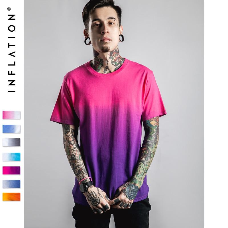 Inflación camiseta divertida de Hip Hop Dip colorante algodón O cuello manga corta Tee 039S16