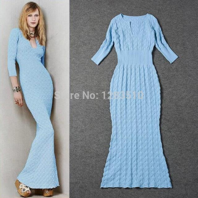 cf0a3c2cd95 Wholesale Runway Spring Maxi Dress Vestidos Solid Color Women Knitted Long  Sweater Dress Winter Dresses Irregular Mermaid Dress