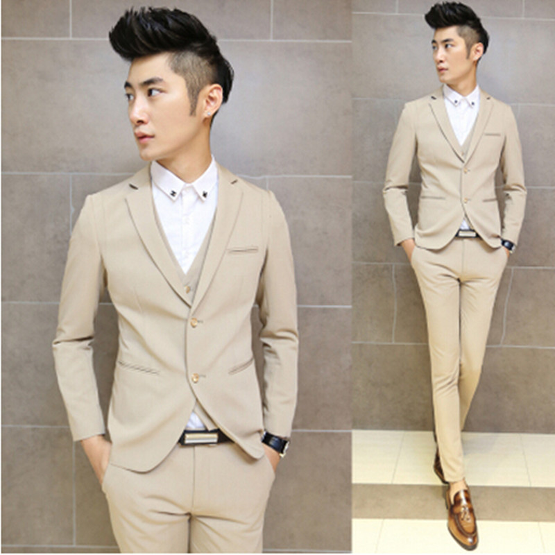 2016 Men Suits Slim Custom Fit Tuxedo Fashion Bridegroon Business Dress Wedding Suits Blazer Male casual