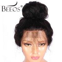 BEEOS Kurze Volle Spitze Echthaar Perücken Mit Dem Babyhaar 130% dichte Remy Haarperücken Brasilianischen Gebleichte Knoten Durchschnittliche Kappe 22