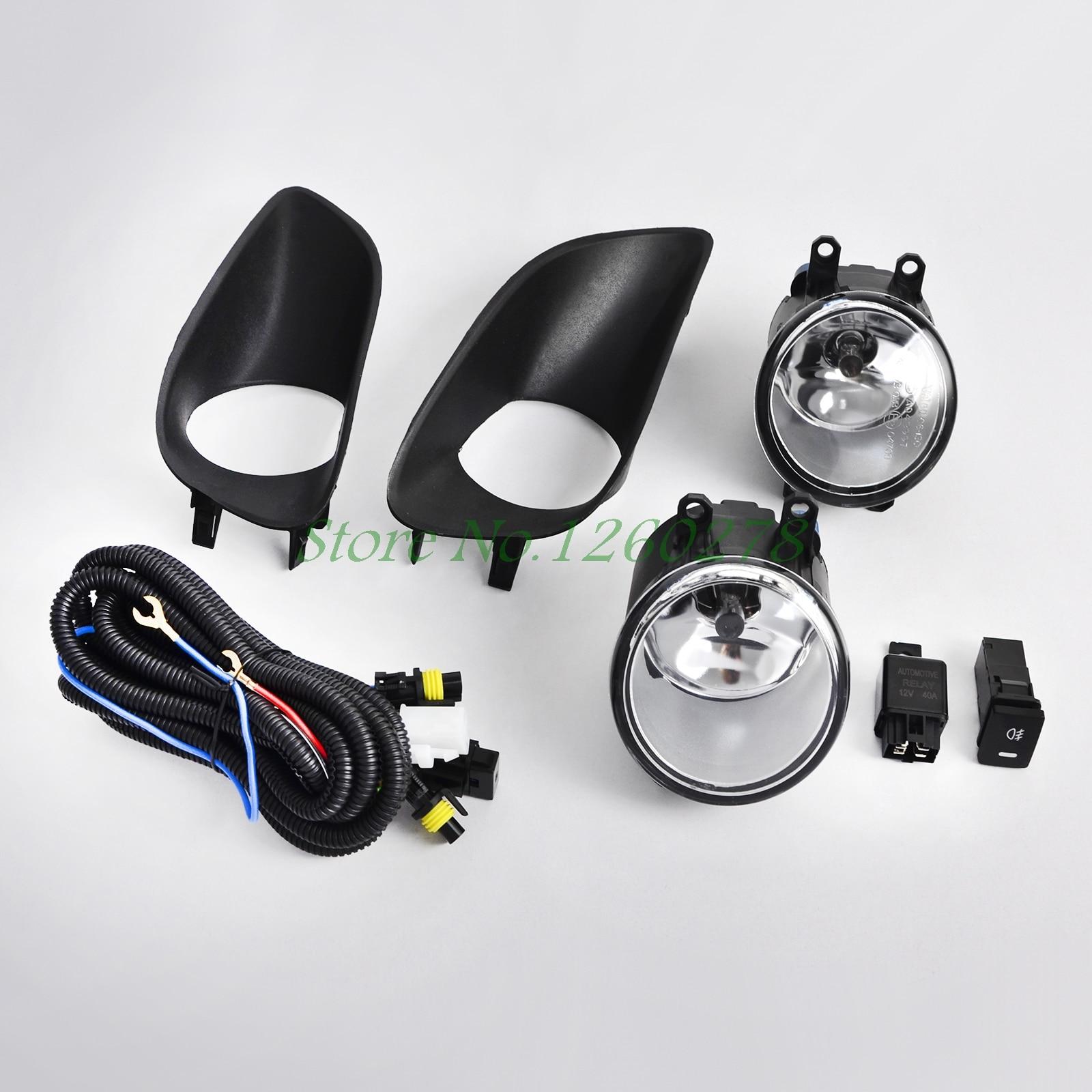 цена на One Pair Auto Car Front Bumper Fog Light Clear w/ Switch For Toyota Yaris 2006-2011 Sedan 4 Door #WJ30-0074-09