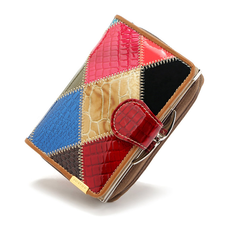 Quality Fashion Genuine Leather Women Wallets Patchwork Hasp Coin Pocket Female Clutch Women Purse Wallet Moeny Bag Card Holder high quality floral wallet women long design lady hasp clutch wallet genuine leather female card holder wallets coin purse