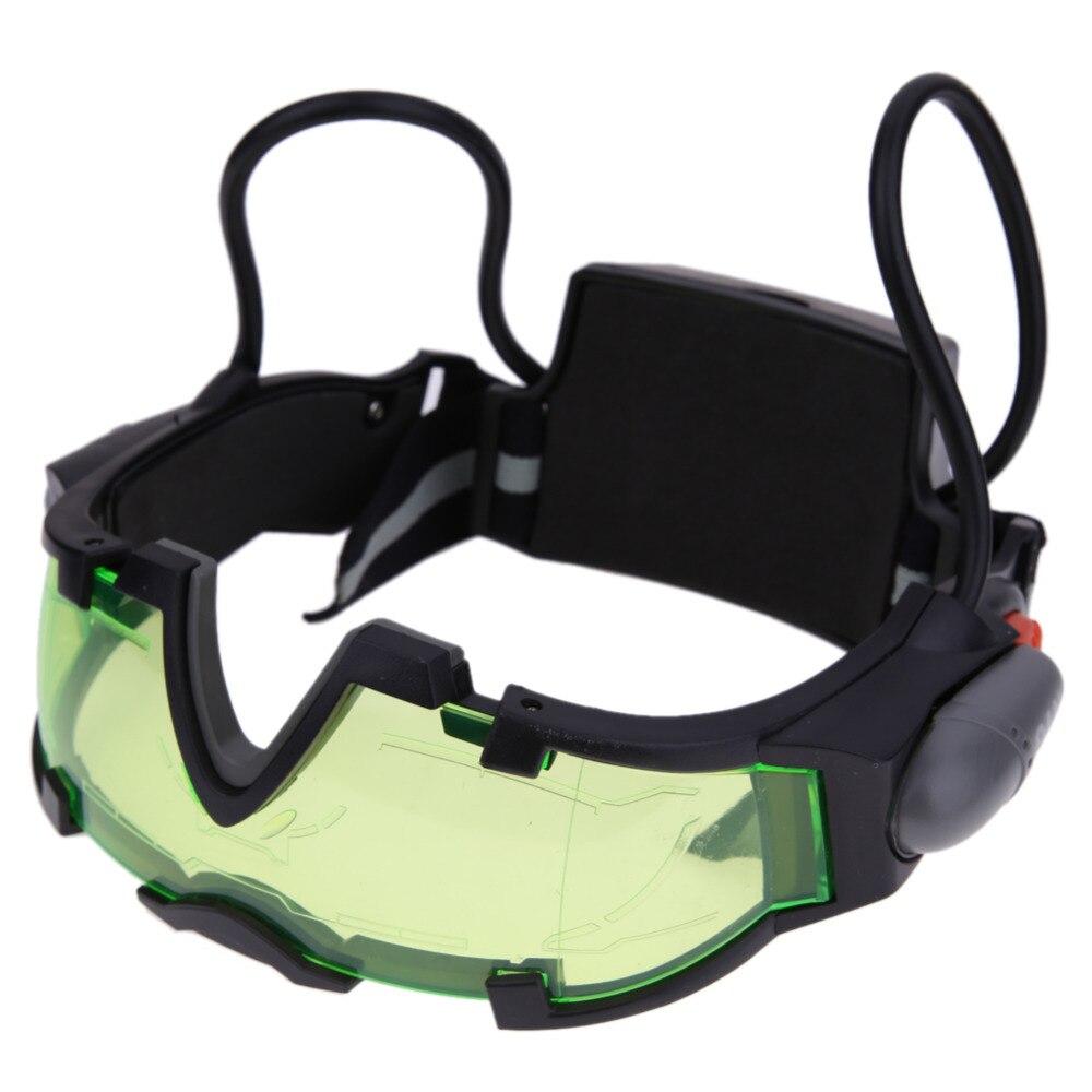 Crianças De Vidro ajustável Elastic Band Night Vision Goggles Óculos de Proteção Legal Olho Lente Escudo Verde Com LED 18.5x21x3 cm