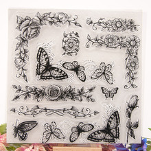 New Beautiful Flowers Butterfly Transparent Clear Stamps Silicone Seal for DIY Scrapbooking Card Making Photo Album Decor Crafts