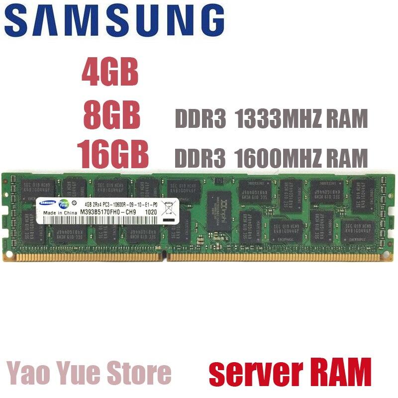 SAMSUNG 4GB 8GB 16GB 4G 8G 16G DDR3 2RX4 PC3-10600R 12800R ECC REG 1333MHZ 1600MHZ 1600 PC RAM Server memory RAM 100% original